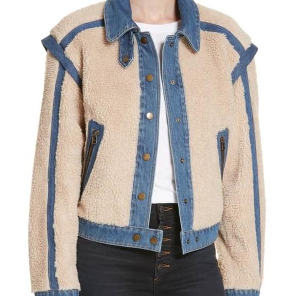 76a33a2b1462 Veronica Beard Jackets & Coats   Nwt Potter Fleece And Denim Jacket ...